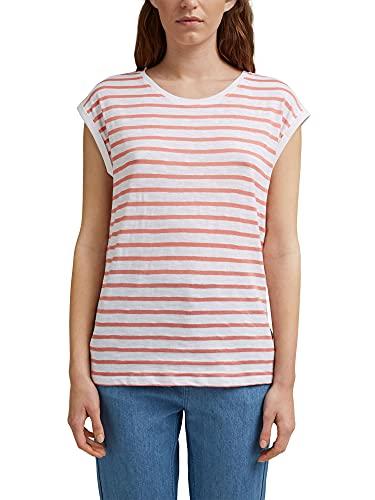 Esprit Lässiges Streifen Camiseta, Rosa, XS para Mujer