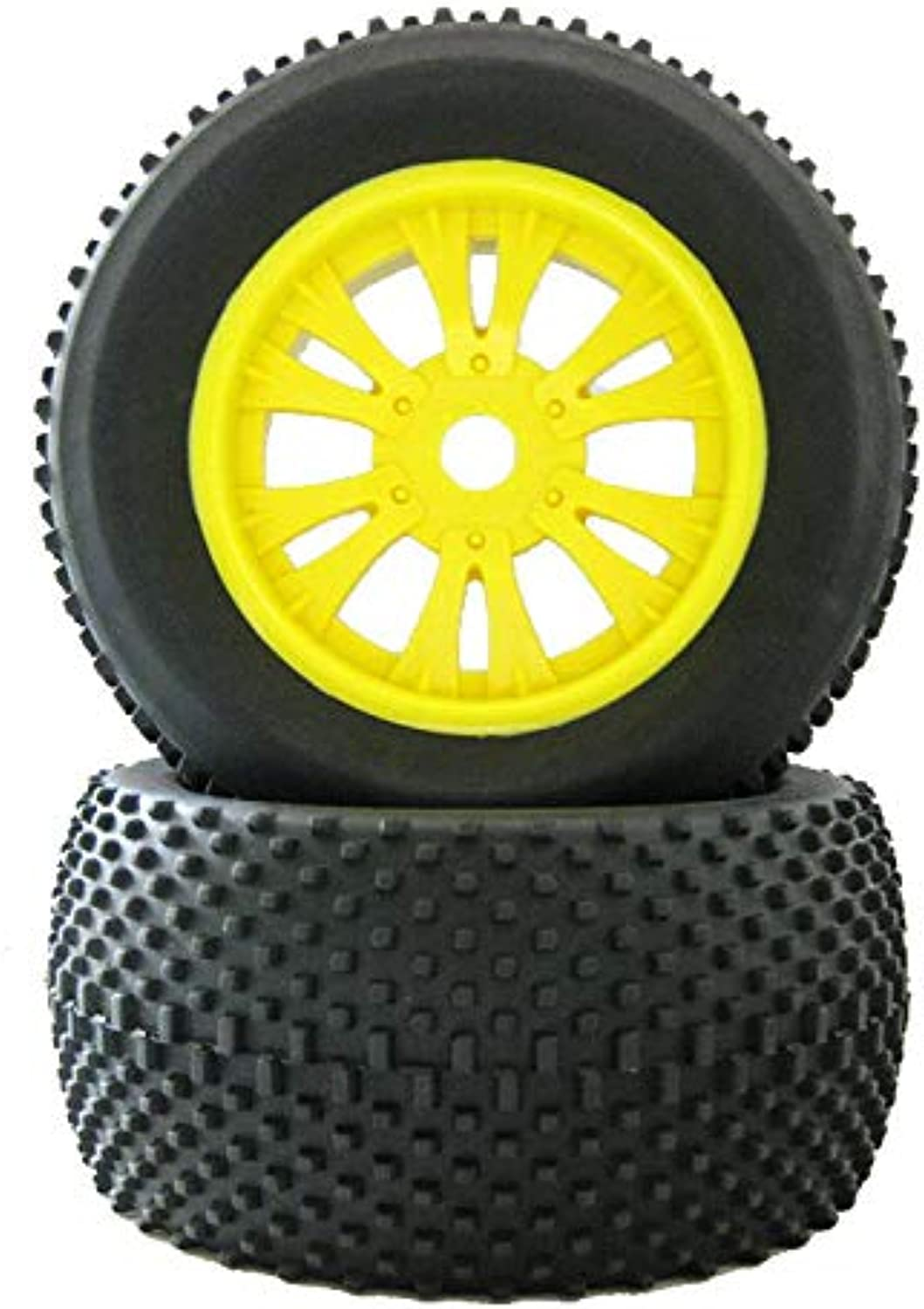 Generic 2Pcs Rubber Sponge Tires Tyre Rim Wheel 140mm68mm Hexagon Adapter 17mm for RC 1 8 HSP HPI Hobby Truck Remote Control Car Yellow