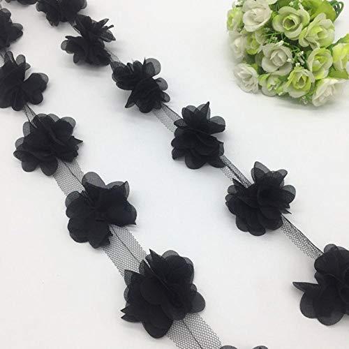 1 Yard 3D Chiffon bloem Lace Trim Baby haarband Lace stof decoratie DIY kleding accessoires lint, zwart