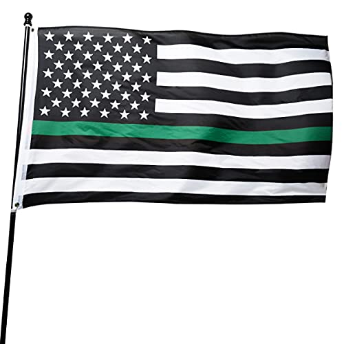 DANF Thin Green Line USA Flag for Army Military Sheriffs Law Enforcement Federal Agents Border Patrol Park Rangers Game Wardens Wildlife Conservation Environment 3x5 FT OD Green Flag