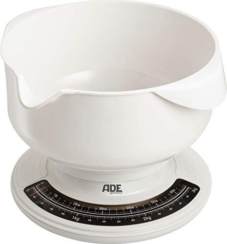 ADE mechanische keukenweegschaal KM 704 Paula. Analoge weegschaal met kom van ABS-kunststof - vaatwasserbestendig, 2,5 l inhoud. Nauwkeurig wegen tot 3 kg. Sleutelweegschaal, wit