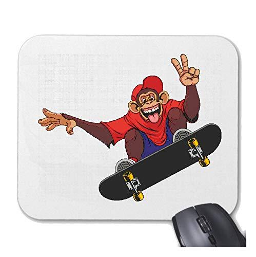 Helene Mousepad - Muismat Grappige chimpanse op skateboard - MENSCHENAFFE - ZILVEREN BROKEN - Gorilla Baby - chimpanse voor uw laptop notebook