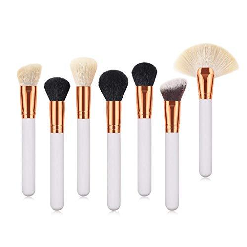 Eyeshadow Brushes Brosse à maquillage poudre haut de gamme Brosse à poudre en poudre Brush Blush Outil de beauté Brush Shadow Manche en bois blanc or rose (7 pièces)