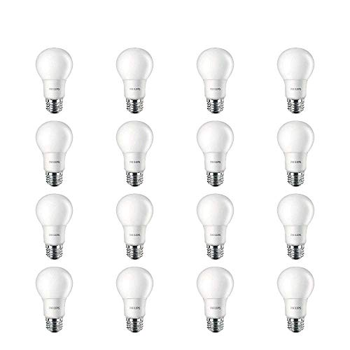 Philips LED Frosted A19, Non-Dimmable, 800 Lumen, Soft White Light (2700K), 10W=60W, E26 Base, 16-Pack