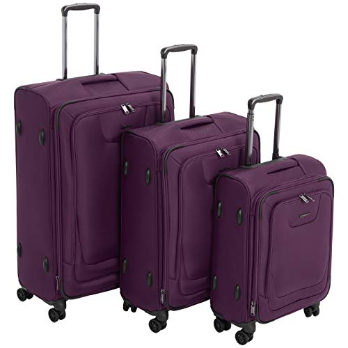 AmazonBasics 3 Piece Expandable Softside Spinner Luggage Suitcase With TSA Lock And Wheels Set - Purple
