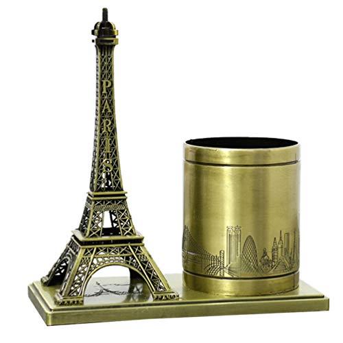Veemoon Escritorio Lápiz Titular Organizador Retro Torre Eiffel Modelo Cepillo de Maquillaje Caja de Almacenamiento de Joyas Llavero Decoraciones de Mesa para La Oficina en Casa