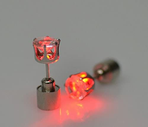 Morenitor LED Earrings, 1 Pair Stainless Steel Light up Glowing LED Piercing Hypoallergenic Earrings Studs Dance Party Accessories for Women Girls Men Boys