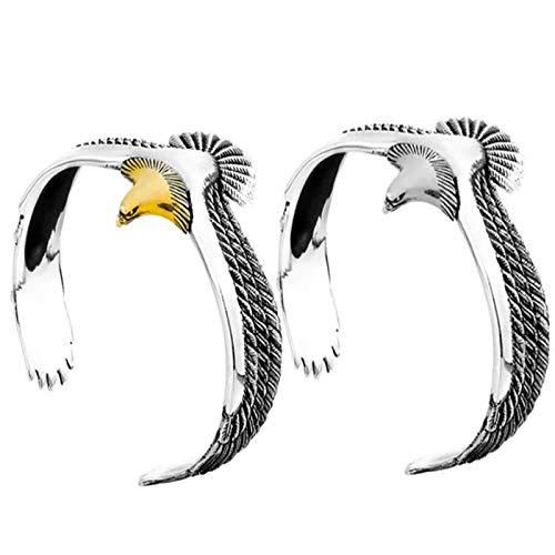Yoshotech 2 brazaletes Eagle, vintage, punk rock, brazalete ajustable con águila y extremo abierto, para mujeres y hombres