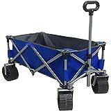 Eurmax Sports Collapsible Sturdy Steel Frame Garden Carts on Wheels Utility Beach Wagon Cart with Big Wheels,Bonus 8x8Ft Picnics Mat (Blue)