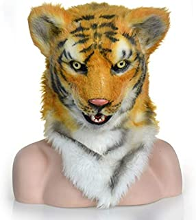 Masks Carnival Holiday Party mask Fur Tiger Head Imitation Beast Animal mask Halloween and Party Accessories Furry Animal Masks ( Color : Yellow )