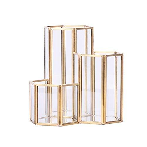 Cratone Make-Up Pinsel Halter Glas mit 3 Fächern Kosmetik Organizer Gold Transparente Pinsel Pot...