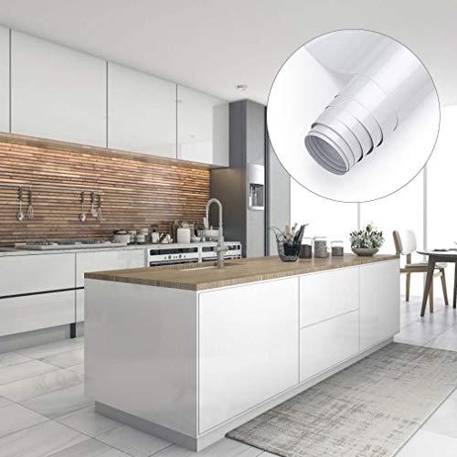 Möbelfolie Küchenschränke Aufkleber Klebefolie aus PVC 61x500cm Tapete selbstklebende Folie Küchenfolie mit Glitzer rückstandslos und kein Geruch Küchenfolie für Möbel Küche Tür (Weiss)