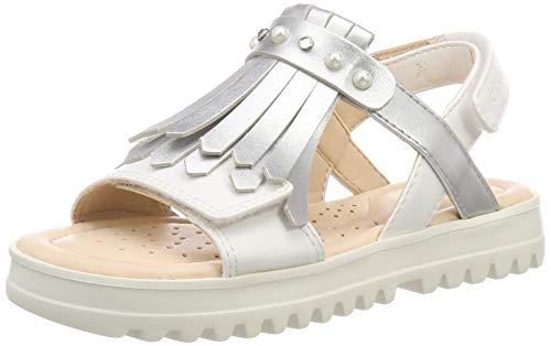 Geox Kids Girl's Sandal Coralie Girl 8 (Little Kid/Big Kid) White/Silver 32 (US 1 Little Kid)