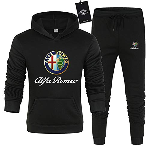JasMINBusse Hombre Color Sólido Conjunto de Chándal Alfa-Ro.Meo Jogging Chaqueta con Capucha + Pantalones Saco/Negro/M sponyborty