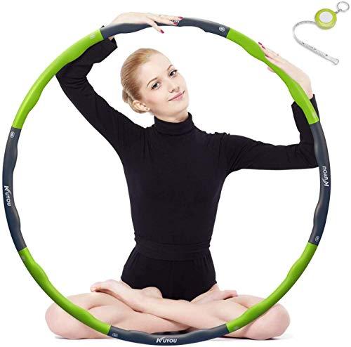 Hula Hoop zur Gewichtsreduktion,Reifen mit Schaumstoff Gewichten Einstellbar Breit 48–88 cm beschwerter Hula-Hoop-Reifen für Fitness (4 Knoten Grün + Grau) mit Mini Bandmaß (Grün)