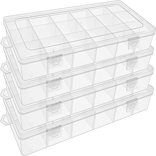 SGHUO 4 Pack 18 Grids Plastic Organizer Box Jewelry Container with Adjustable Dividers for Rock & Mineral Collection, Jewelry Beads Storage