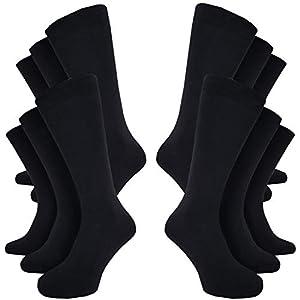 Kensington® 12 Pairs Mens Socks Size 6-11 UK Multipack Black Cotton Designer Socks Breathable Eco-Friendly Thin Sock for Work (Plain Black)