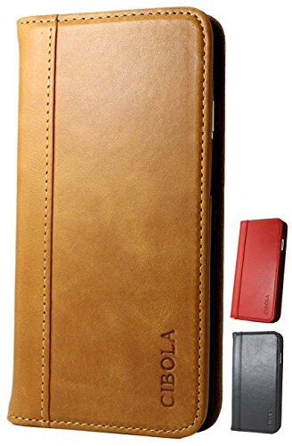iPhone 5 iPhone 5s iPhone SE Case, CIBOLA Genuine Leather Wallet Folio Case Book Design with Stand and ID Credit Card Slots Magnetic Closure for iPhone iPhone 5 / 5s / SE (Brown, iPhone5/5s/SE)