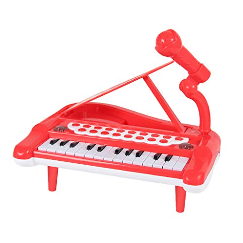 sharprepublic Piano para Niños Pequeños Teclado de Juguete para Niños Regalo 25 Teclas Piano de Juguete Multifuncional - Rojo