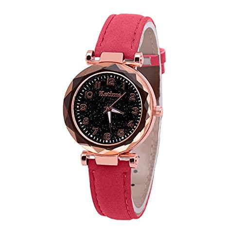 RTUQ Reloj de pulsera para mujer, digital, de cuarzo, luminoso, con correa de piel hueca, regalo para mujeres, Rosa intenso.,