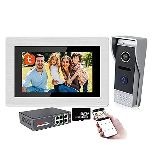 Tuya smart Timbre con video WiFi, teléfono con videoportero con monitor de 7 pulgadas, intercomunicador, cámara de seguridad con visión nocturna, desbloqueo remoto de la APP,Kit + 32g + poe