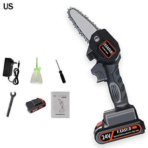 ampusanal Mini Chainsaw, 4 Inch 24V Cordless Handheld Chainsaw, Electric Portable Chainsaw with Rechargeable Battery for Tree Branch Wood Cutting, Household Gardening Tool