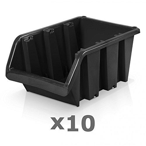 10 Stück Sichtlagerboxen Größe 6 - schwarz (39 x 24 x 18 cm)