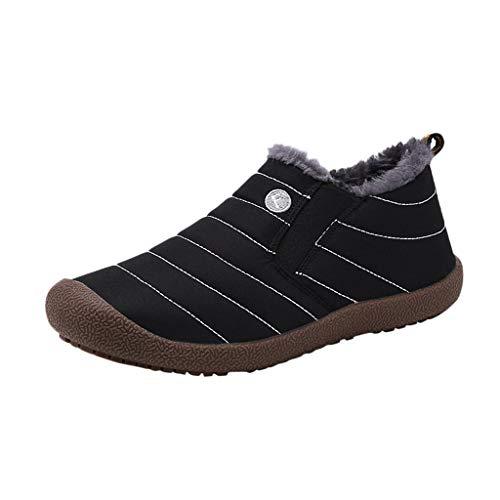 Yowablo Winterschuhe Herren Warm Gefüttert wasserdicht Winter Outdoor Boots Wanderstiefel Stiefel (46 EU,Herren-Schwarz)