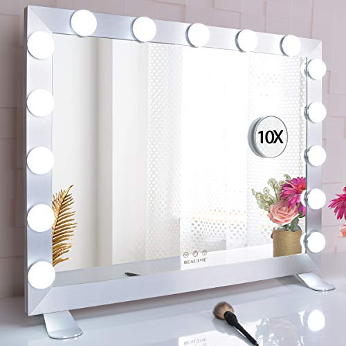 BEAUTME Espejo de tocador con luces, gran espejo de maquillaje iluminado de Hollywood con 15 bombillas LED regulables para vestidor, mesa o montaje en pared
