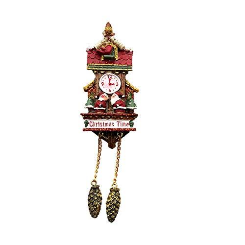 Suiza - Reloj de cuco de Navidad 3D de resina para nevera con imán para regalo de recuerdo, colección de regalos para el hogar y la cocina