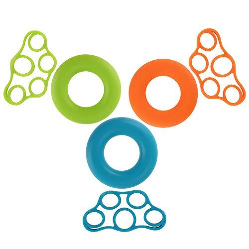 6pcs Fingertrainer Klettern Handtrainer Set, Hand Grip Trainer, Handtrainer Ring und Finger Stretcher Silikon für Arthritis Karpaltunnelsyndrom Übung, Klettern, Prävention und Reha Handmuskel