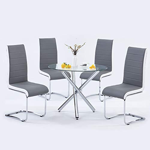 Modern Dining Table Set for 4 Person,5 Pieces Kitchen Dining Room Sets with Glass Round Table Top,Chrome Legs + 4 Grey with White Side,Faux Leather High Back Dining Room Chairs Set for Home Office