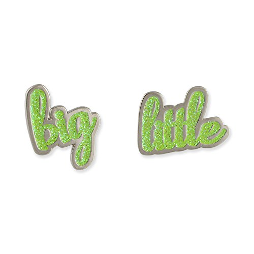 WizardPins Big & Little Sorority Reveal Gift Glitter Lapel Pin Silver Set– Pink, Green Turquoise Master Set
