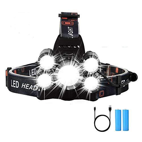 Yizhet Linterna Frontal LED Recargables Luces Super Brillantes,5 Modos de Luz y hasta 300 Metros Cabeza Impermeable para Camping/Pesca/Carrera/Caza