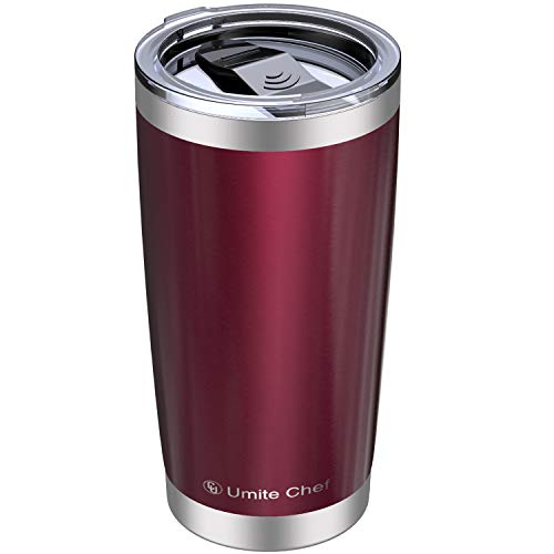 Umite Chef 20oz Tumbler, Stainless Steel Vacuum Insulated Double Wall Travel Mug Tumbler with Splash Proof Sliding Lid , Durable Insulated Coffee Mug, Rose Gold, Thermal Cup (Wine Red)