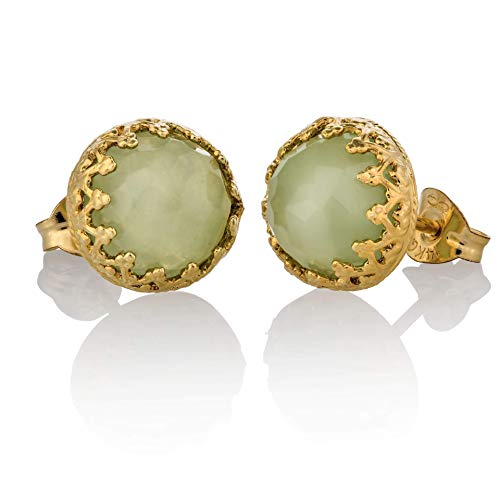 Pendientes de jade de oro Light Green Stud 14k Gold Filled Jade Jewelry