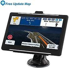GPS de 7 pulgadas, pantalla táctil grande capacitiva para navegar por el coche, 8 GB de memoria GPS, actualización de sistema de mapas de por vida, navegación GPS para coche con alarma de giro a giro
