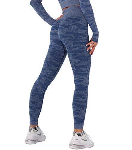 KIWI RATA Mallas Push Up Mujer Deporte Leggings Camuflaje sin Costuras Yoga Leggins de Cintura Alta Pantalones Deportivos Running Fitness de Corazón Caderas