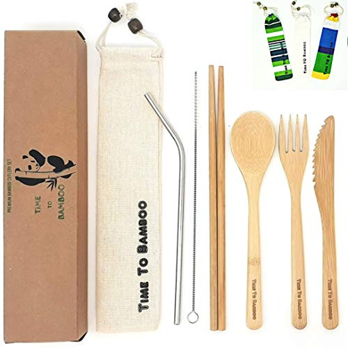 Eco-Friendly Bamboo Cutlery Set| Reusable Travel Cutlery | Flatware Set | Knife, Fork, Spoon and Straw| Wooden Cutlery Set | Organic Cutlery Set with Travel Pouch|Time To Bamboo (Beige)