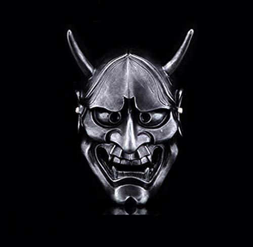 Tao Máscara de Resina de Halloween para Adulto, máscara Decorativa de la Cabeza del Fantasma del Guerrero japonés (Color : La Plata)
