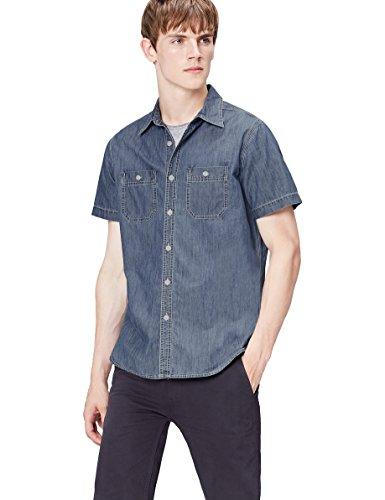 FIND Camisa Vaquera de Manga Corta para Hombre, Azul (Mid Vintage Wash),...