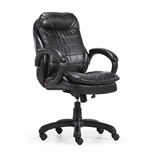 ofiprix | Sillón Confort | Silla de Escritorio | Sillón de Oficina | Silla de Oficina | Sillón Despacho | Simil Piel | Respaldo Alto | Brazos Fijos | Color Negro