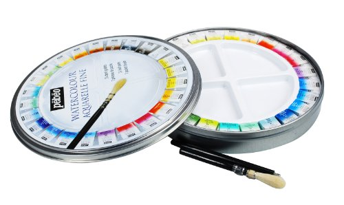 PEBEO Fine Metal Round Pébéo Painting Box Watercolour Palette Kit 24 Half Buckets & 1 Pocket Brush