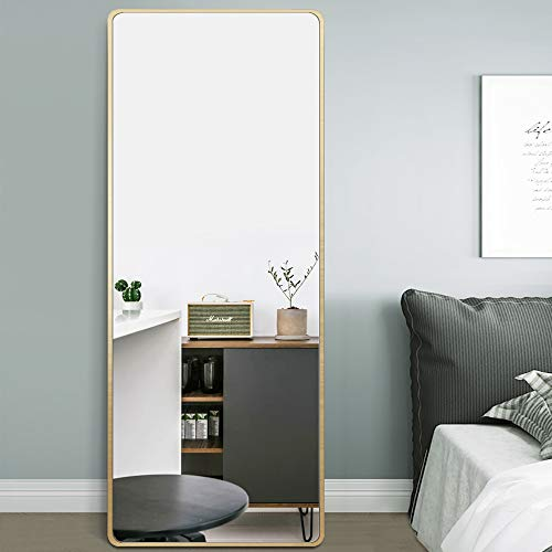 PexFix Full Length Mirror 65'x22' Floor Mirror Standing Mirror Curved Edge Corner Rectangular Wall Mounted Mirror Standing Hanging Leaning Bedroom Living Room Gold