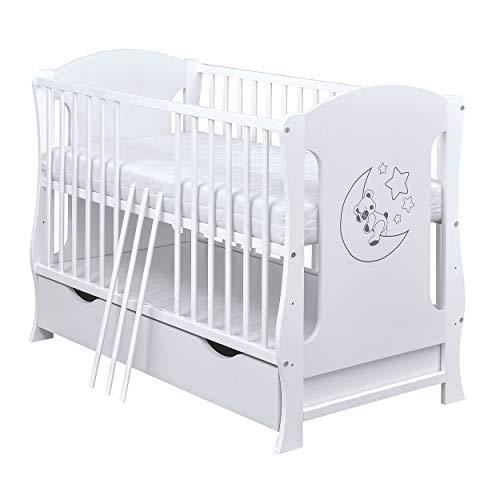 Baby Delux Babybett Kinderbett umbaubar Juniorbett 120x60 weiß mit Matratze und Schublade Teddy Mond Motiv