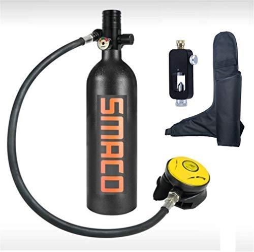 Equipo de buceo Equipo de buceo Mini cilindro de buceo Tanque de oxígeno de buceo Portátil Gran capacidad 1L Respiración bajo el agua durante 15 a 20 minutos con adaptador de buceo Mini equipo de buce