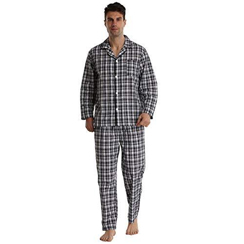 Herren Baumwolle Pyjama Set Baumwolle geprüft Schlafanzug Zweiteiliger Shirt Knopf und Pyjamahose