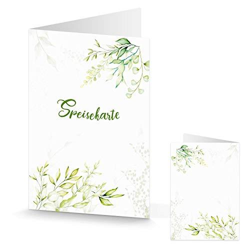 20 weiß grüne Menükarte Speisekarte Tischaufsteller Gastronomie Klappkarte MENÜ - Hochzeit Kommunion Geburtstag Tischdeko Tageskarte hellgrün floral Blätter Blumen natürlich
