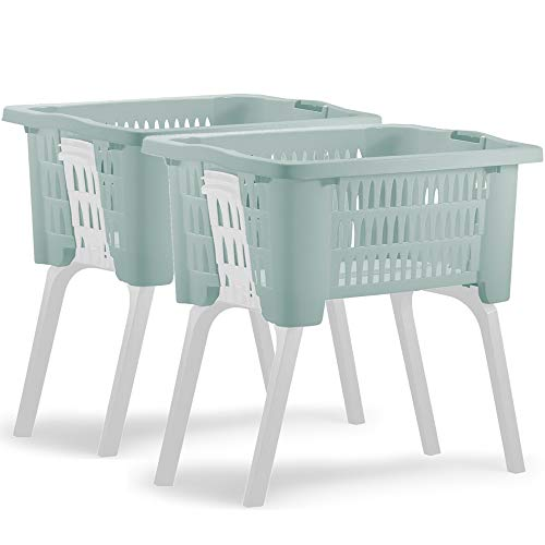 Deuba 2er Set Wäschekorb mit ausklappbaren Beinen aus Kunststoff Wäschesammler Tragegriffe arbeitserleichternd 38 Liter 60x40x58cm grün
