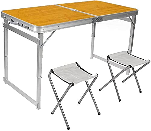 Mesa plegable de camping duradera y portátil de aleación de aluminio plegable con dos sillas Folde para picnic al aire libre (color blanco, tamaño: 120 x 60 x 72 cm) - 120 x 60 x 72 cm